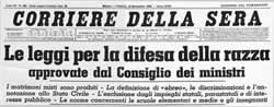 """Il """"Corriere"""" del 18-11-1938"""