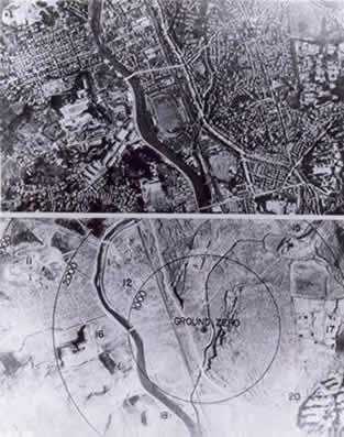 Nagasaki: il punto d'impatto prima e dopo la bomba; il raggio dei cerchi e' espressso in piedi. (U.S. National Archives, RG 77-MDH)