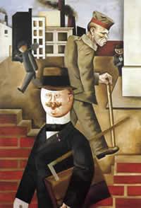 "Georg Gross ""Giornata grigia"", particolare 1921 Berlino, Nationalgalerie."