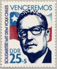 Salvador Allende raffigurato in un francobollo della DDR