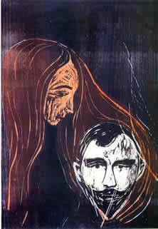Testa d'uomo in capelli di donna Edvard Munch, 1896